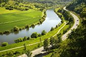 Areal View On Neckar River In Germany