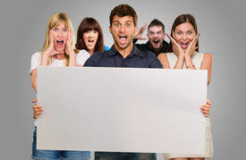 stock photo of horrifying  - Man Holding Blank Placard And Woman Screaming From Behind On Gray Background - JPG