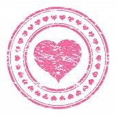 Vector Illustrator Of A Grunge Pink Rubber Stamp With Heart  Isolated On White Background