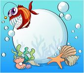 picture of piranha  - Illustration of a big pearl and the smiling piranha under the sea - JPG