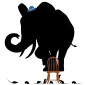Illustrated silhouettes of a frightened elephant standing on a chair surrounded by rats