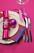 Bright Hot Candy Pink Christmas Table Decoration With Plates, Cutley, Knoves, Wine Glass, Pink Polka