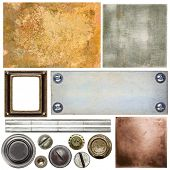 Metal textures, backgrounds, screw heads