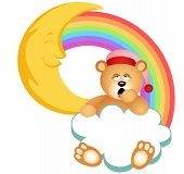 picture of goodnight  - Scalable vectorial image representing a teddy bear sleepy cloud rainbow - JPG