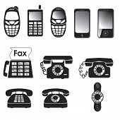 stock photo of mobile-phone  - Collection of vector old and new phone icons - JPG