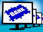 image of electronic banking  - Bank On Monitors Showing Online Or Electronic Internet Banking - JPG