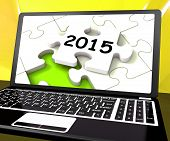 Two Thousand And Fifteen On Laptop Shows New Years Resolution 2015