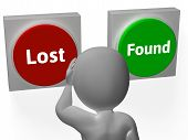 Lost Found Buttons Show Seeking Or Misplaced