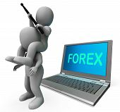 Forex Characters Laptop Shows Worldwide Fx Or Foreign Currency Trading