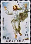 Stamps printed in Sao Tome shows Transfiguration of Christ by Raphael