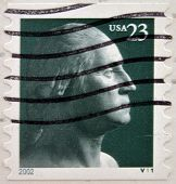 stamp printed in USA shows a George Washington portrait