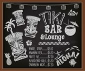 Tiki Bar and Lounge Chalkboard Cocktail Menu - Blackboard poster advertising Hawaiian tiki bar, with