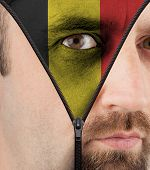 Unzipping Face To Flag Of Belgium