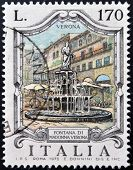 ITALY - CIRCA 1976: a stamp printed in Italy shows Madonna Fountain Verona circa 1976