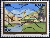 ITALY - CIRCA 2001: A stamp printed in Italy dedicated to Pioraco circa 2001