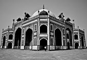 New Delhi, INDIA: Humayun's Tomb in Black and White