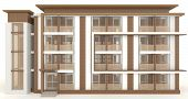 3D Wooden Office Building Exterior Design In White Background