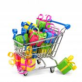 Shopping Cart With Colorful Presents