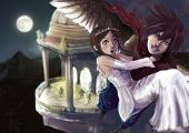 stock photo of night gown  - A fantasy illustration of a wing man stealing the princess out of the castle - JPG