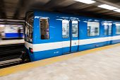 Montreal Metro Train With Motion Blur