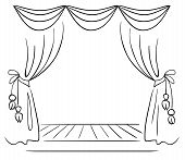 foto of interior sketch  - Theater stage vector sketch - JPG