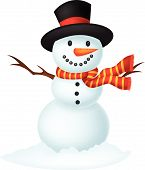 pic of snowman  - Vector illustration of Christmas Snowman cartoon wearing a Hat and red scarf - JPG