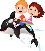 foto of orca  - Vector illustration of Cartoon Boy and girl riding orca - JPG