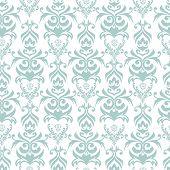 image of damask  - Seamless turquoise and white damask retro background - JPG