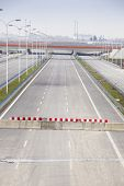 pic of barricade  - Barricade on a highway stopping all vehicles - JPG