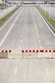 picture of barricade  - Barricade on a highway stopping all vehicles - JPG