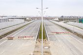 stock photo of barricade  - Barricade on a highway stopping all vehicles - JPG