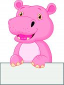 Cute hippo cartoon holding blank sign