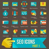 stock photo of submissive  - seo icons set part 1 Flat design modern vector illustration icons set of seo website optimization and technology development - JPG
