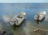 stock photo of gulf mexico  - small fishing boats at the Gulf of Mexico - JPG