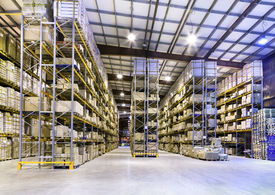 image of warehouse  - Interior of new large and modern warehouse space - JPG