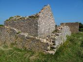 stock photo of stockade  - Fort fortification ruined building photographed at Berry Head in Devon - JPG