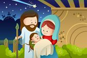 pic of jesus  - A vector illustration of Joseph Mary and baby Jesus for nativity concept - JPG