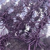 stock photo of sting  - A bizarre background of organic sting garlands in purple - JPG