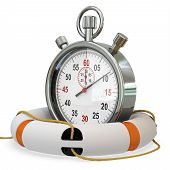stock photo of stopwatch  - 3d lifebuoy with stopwatch save time concept on white background - JPG