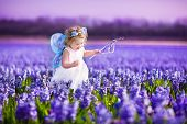 stock photo of white purple  - Portrait of an adorable toddler girl in a magic fairy costume and flower crown in her curly hair playing with a wand in a beautiful field of purple hyacinths in Keukenhof Holland on windy spring day - JPG