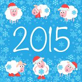 image of sheep  - Cute card for Christmas and New Year - JPG