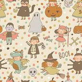 image of halloween characters  - Cute cartoon Halloween seamless pattern made of children in holiday costumes - JPG