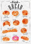 pic of croissant  - Bakery products painted watercolor poster with different types of bread products - JPG