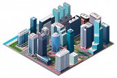 picture of isometric  - Vector isometric city center map  - JPG