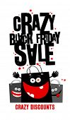 picture of friday  - Crazy black friday sale design with shopping bags - JPG