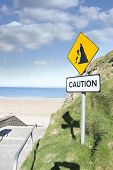 image of landslide  - caution loose rocks or landslide sign in Ballybunion beach county Kerry Irelands wild atlantic way - JPG
