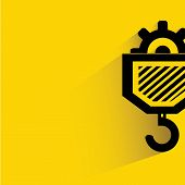 pic of crane hook  - hook of the elevating crane on yellow background - JPG