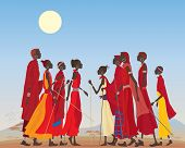 pic of traditional attire  - an illustration of a group of masai men and women in traditional clothing in an arid african landscape - JPG