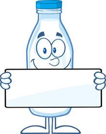stock photo of milkman  - Funny Milk Bottle Cartoon Mascot Character Holding A Banner - JPG