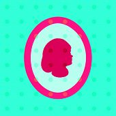 image of cameos  - Retro polka dot pattern with stylized girl profile head - JPG